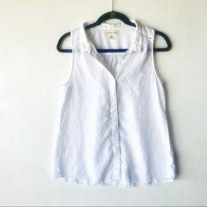Cloth & Stone white button down top sz medium